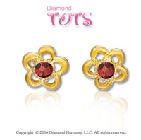 14k Yellow Gold Garnet Flowers Children's Earrings
