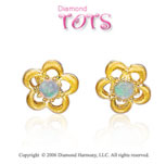 14k Yellow Gold Opal Flower Fashion Children's Earrings