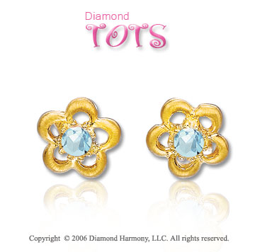 14k Yellow Gold Aquamarine Flower Children's Earrings