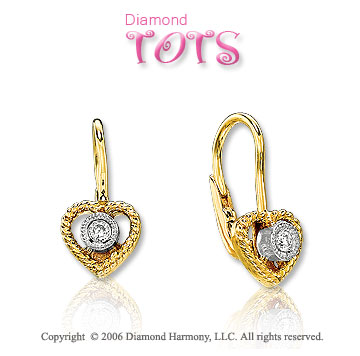 14k Yellow Gold Bezel Diamond Heart Children's Earrings