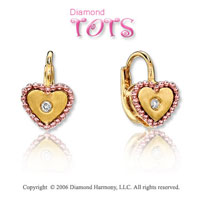 14k Two Tone Gold Gold Diamond Heart Children's Earrings