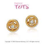 14k Yellow Gold Rope Wheel Diamond Children's Earrings