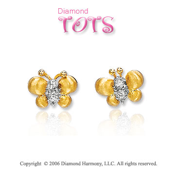 14k Yellow Gold Diamond Butterflies Children's Earrings