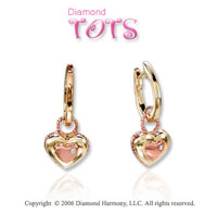 14k Two Tone Gold Gold Heart Pendant Children's Earrings