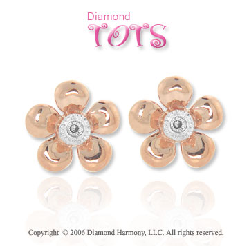 14k Two Tone Gold Gold Diamond Flower Children's Earrings