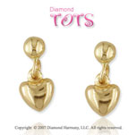 18k Yellow Gold Heart Drop Style Children's Earrings