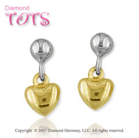18k Two Tone Gold Heart Drop Style Children's Earrings