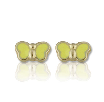 18k Yellow Gold Cute Yellow Enamel Butterfly Button Earrings