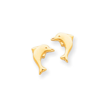 14k Yellow Gold Dolphin Children's Button Earrings