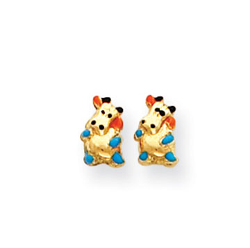 14k Yellow Gold Enamel Cow Children's Button Earrings