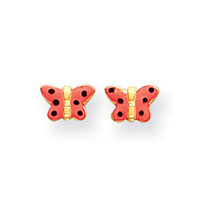 14k Yellow Gold Pink Enamel Butterfly Earrings