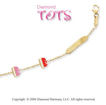 14k Yellow Gold Pink & Red Enamel Children's ID Bracelet