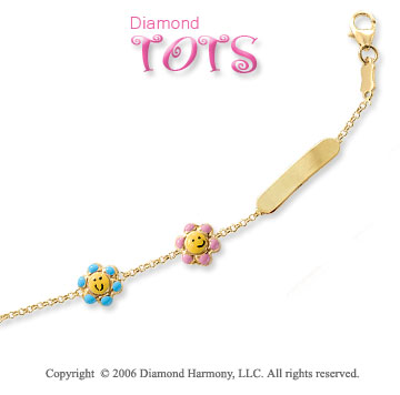 14k Yellow Gold Flower Friendship Children's ID Bracelet