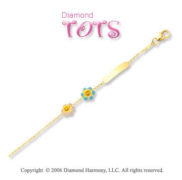14k Yellow Gold Enamel Flower Children's ID Bracelet
