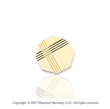 14k Yellow Gold Linear Pattern Octagon Carved Tie Tack