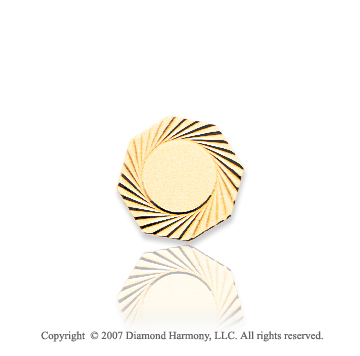 14k Yellow Gold Swirling Sun Octagon Carved Tie Tack