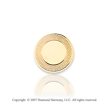 14k Yellow Gold Fashionable Carved Circle Tie Tack