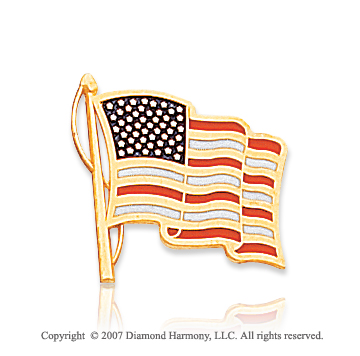 14k Yellow Gold Patriotic American Flag Tie Tack