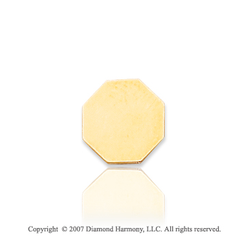 14k Yellow Gold Stylish Smooth Octagon 10mm Tie Tack
