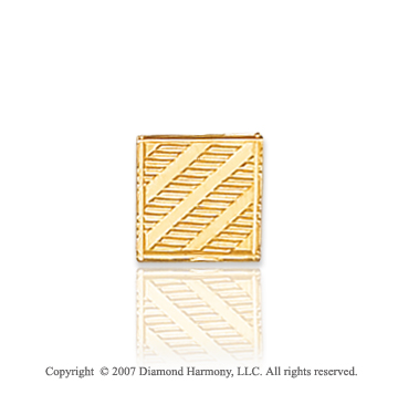 14k Yellow Gold Classy Carved Line Pattern 9mm Tie Tack