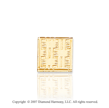 14k Yellow Gold Unique Design Carved Square Tie Tack