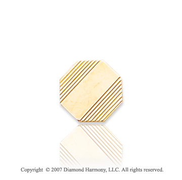 14k Yellow Gold Line Pattern Octagon Carved Tie Tack