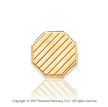 14k Yellow Gold Wood Panel Style Octagon 12mm Tie Tack