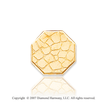 14k Yellow Gold Classic Leather Style Octagon Tie Tack