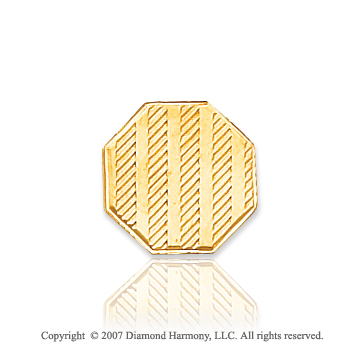 14k Yellow Gold Stylish Linear Pattern Carved Tie Tack