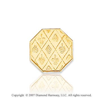 14k Yellow Gold Triple Pattern Octagon Carved Tie Tack