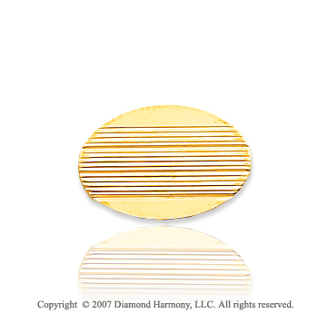 14k Yellow Gold Lines Pattern Oval Carved Tie Tack
