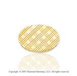14k Yellow Gold Crisscross Pattern Oval Carved Tie Tack