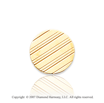 14k Yellow Gold Linear Pattern Circle Carved Tie Tack