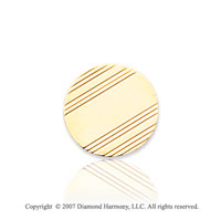 14k Yellow Gold Modern Fashion Circle Carved Tie Tack