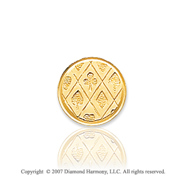 14k Yellow Gold Multi Pattern Circle Carved Tie Tack