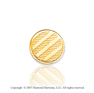 14k Yellow Gold Modern Classic Circle Carved Tie Tack