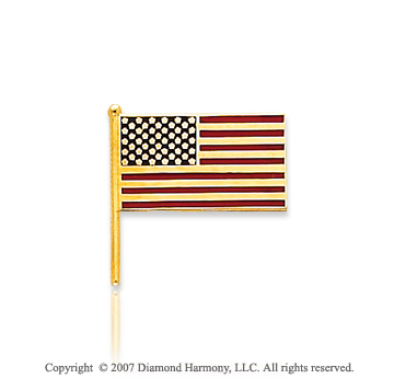 14k Yellow Gold American Flag Tie Tack