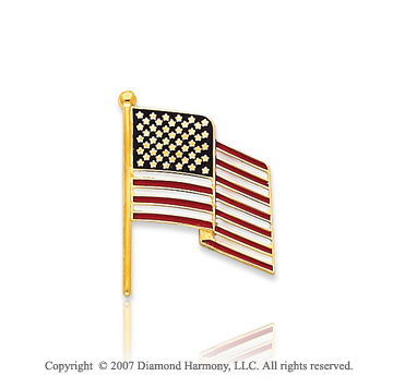 14k Yellow Gold 'American Flag Waving' 19mm Tie Tack