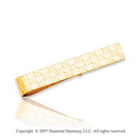 14k Yellow Gold Classic Woven Pattern Carved Tie Bar