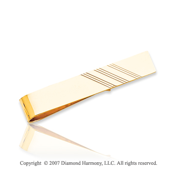 14k Yellow Gold Stylish Classic Lines Carved Tie Bar