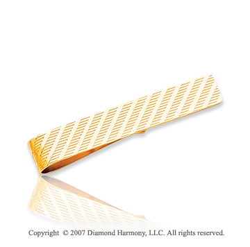 14k Yellow Gold Classy Linear Style Carved Tie Bar