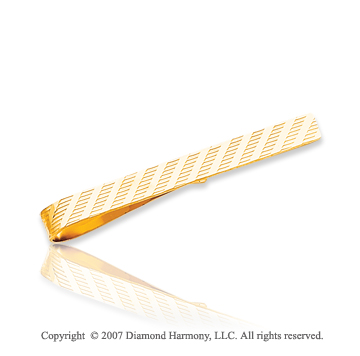 14k Yellow Gold Classy Linear Pattern Carved Tie Bar