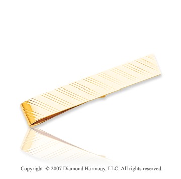 14k Yellow Gold Stylish Lines Design Carved Tie Bar