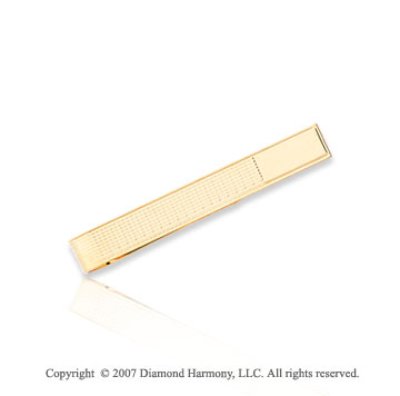 14k Yellow Gold Modern Classic Stylish Carved Tie Bar