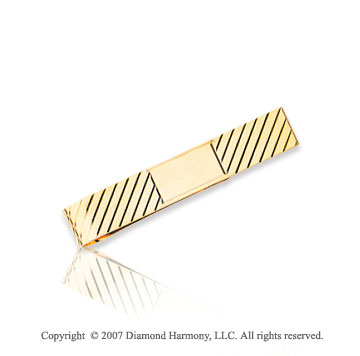 14k Yellow Gold Elegant Lines Pattern Carved Tie Bar