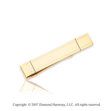 14k Yellow Gold Sleek Linear Pattern Carved Tie Bar