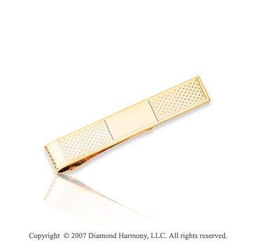 14k Yellow Gold Stylish Lines Pattern Carved Tie Bar