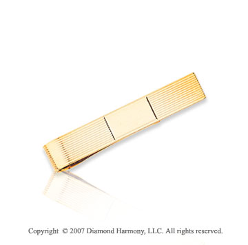 14k Yellow Gold Grand Trendy Classic Carved Tie Bar