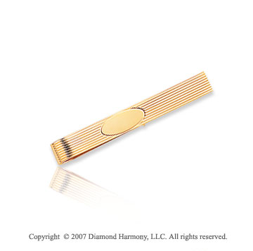14k Yellow Gold Fashionable Linear Style Carved Tie Bar