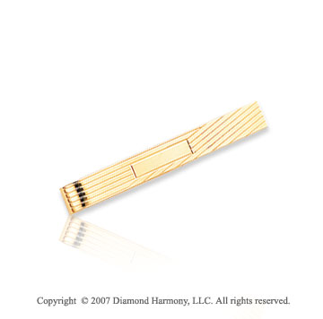 14k Yellow Gold Classic Linear Design Stylish Tie Bar